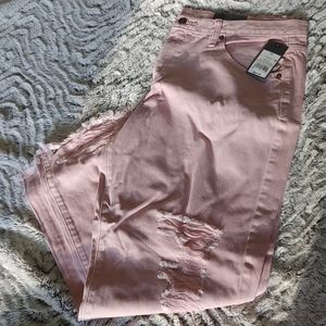 Mossimo Pink Distressed Boyfriend Cropped Jeans 14